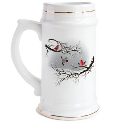 Пивная кружка Снегири