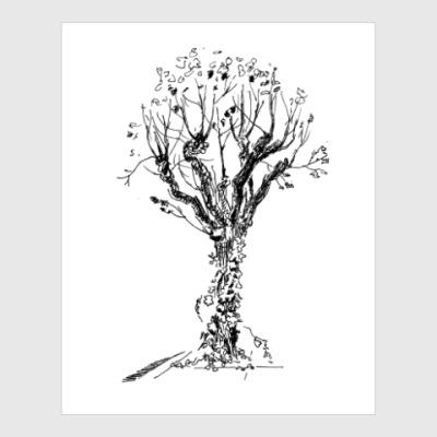 Постер Дерево с вьюнком