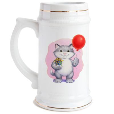 Пивная кружка Кот и воздушный шарик