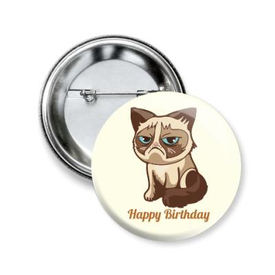 Значок 50мм Угрюмый кот Тард - Grumpy Cat
