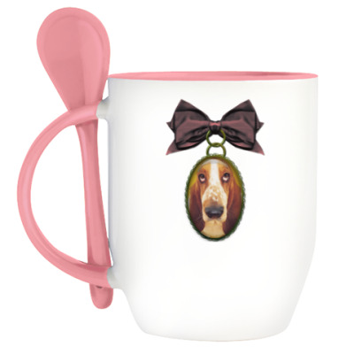 Кружка с ложкой Собака в медальоне