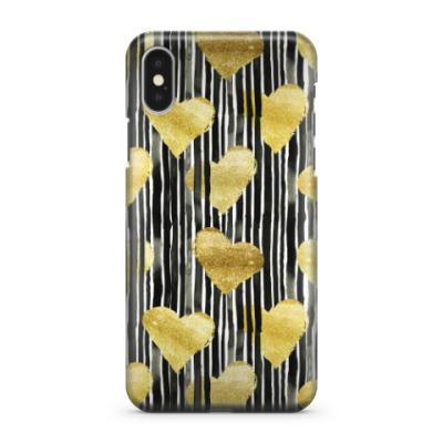 Чехол для iPhone X Модные сердца