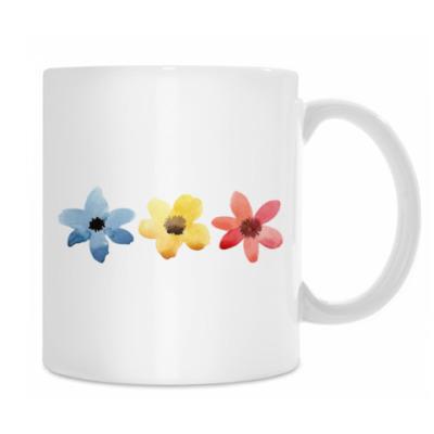 Три разноцветных цветочка