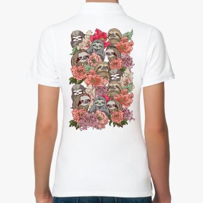 Женская рубашка поло Ленивцы в цветах