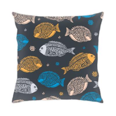 Подушка морские рыбы