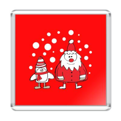 Магнит Дед Мороз и Пингвин