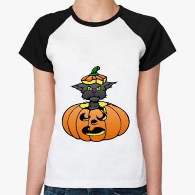 Женская футболка реглан Тыква  (бел/чёрн)