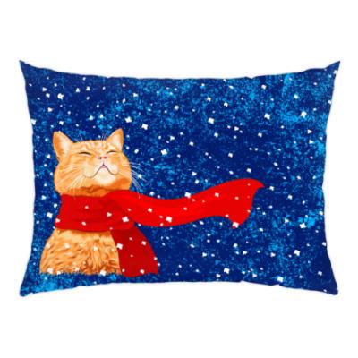 Подушка Новогодний котик в снегу