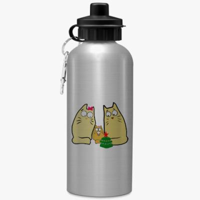 Спортивная бутылка/фляжка Кошачья семья
