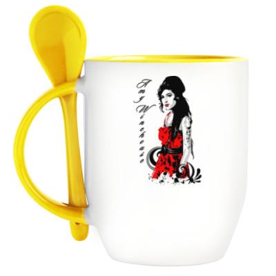 Кружка с ложкой Эми Уайнхаус - Amy Winehouse