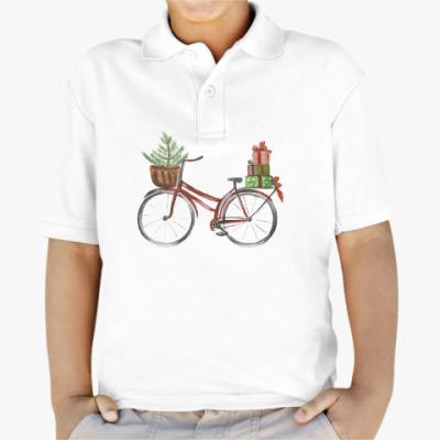 Детская рубашка поло Красный рождественский велосипед