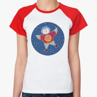 Женская футболка реглан Пингвин С Новым годом!