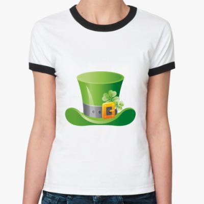 Женская футболка Ringer-T Шляпа леприкона