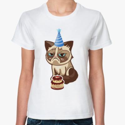 Классическая футболка Угрюмый кот Тард - Grumpy Cat