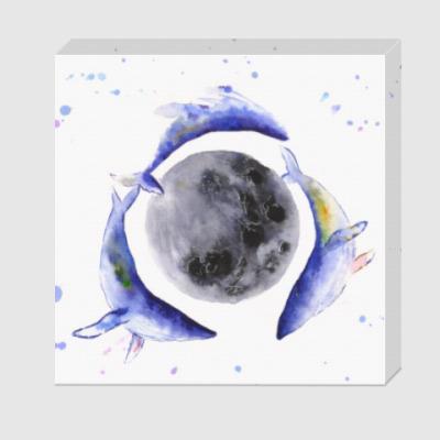 Холст Лунные киты