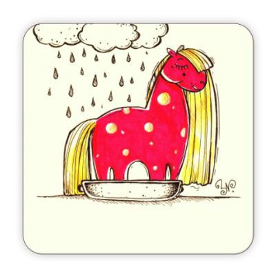 Костер (подставка под кружку) Купание красной коняшки