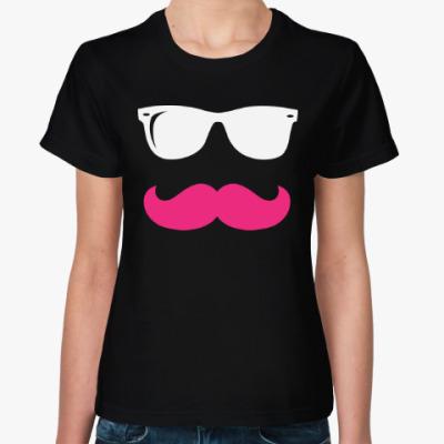 Женская футболка Очки и усы