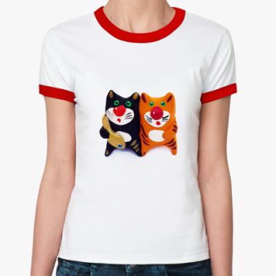 Женская футболка Ringer-T Два мультяшных кота