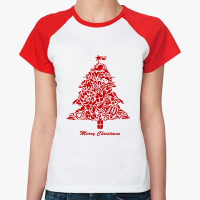 Женская футболка реглан   Елка