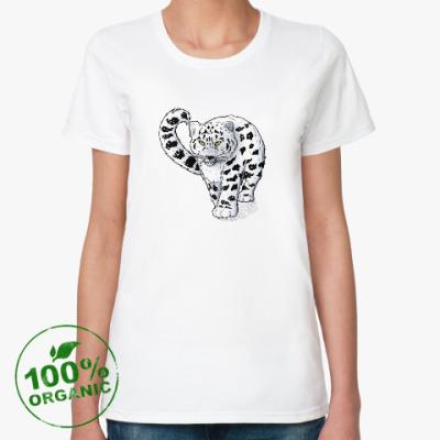 Женская футболка из органик-хлопка WWF. Снежный барс