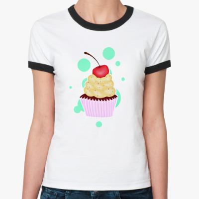 Женская футболка Ringer-T Капкейк