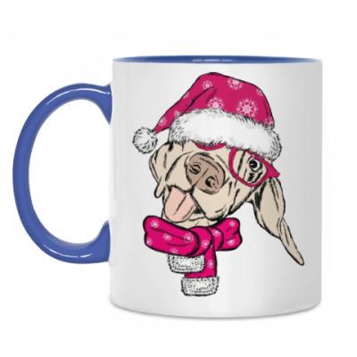 Кружка Собака Санта показывает язык