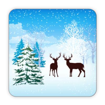 Костер (подставка под кружку) Новогодние олени
