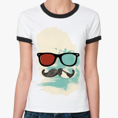 Женская футболка Ringer-T Moustache