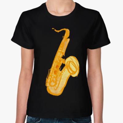 Женская футболка саксофон