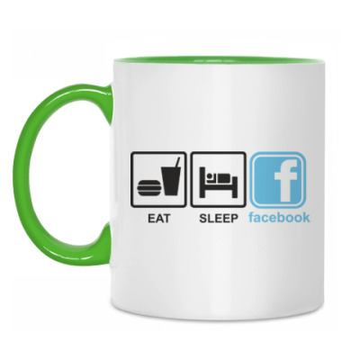 Кружка Eat, sleep, facebook.