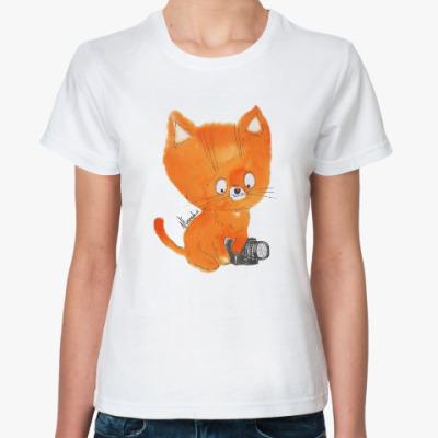 Классическая футболка рыжий котенок