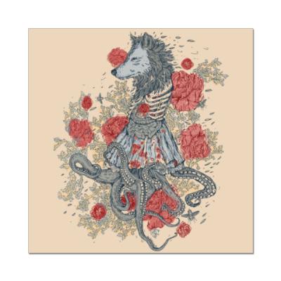 Наклейка (стикер) Волк-девушка-осьминог