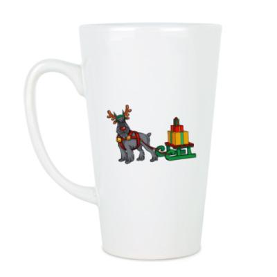Чашка Латте Новогодний Шнауцер