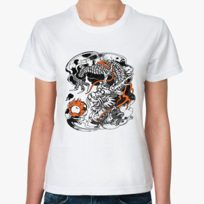 Классическая футболка Дракон с жемчужиной