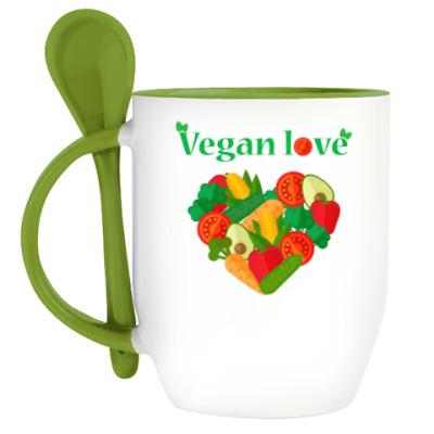 Кружка с ложкой Vegan love