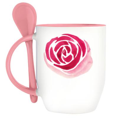 Кружка с ложкой Розы...