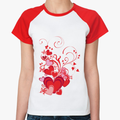 Женская футболка реглан Сердечки и бабочки