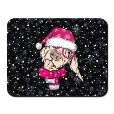 Коврик для мыши Собака Санта показывает язык