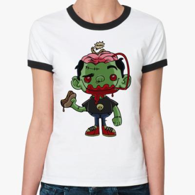 Женская футболка Ringer-T Если бы у зомби был мозг