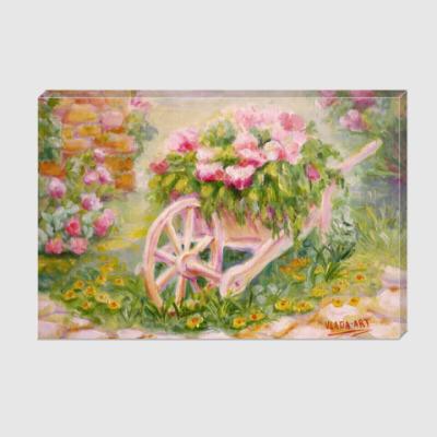 Холст Тележка с цветами