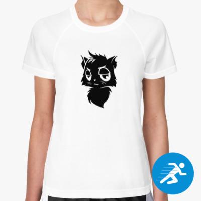 Женская спортивная футболка Черный кот