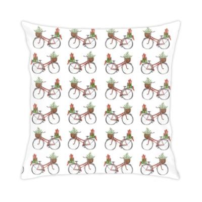 Подушка Паттерн из красных велосипедов