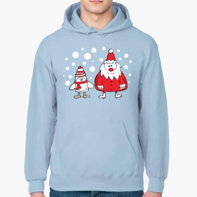 Толстовка худи Дед Мороз и Пингвин