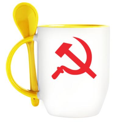 Кружка с ложкой Серп и молот - СССР