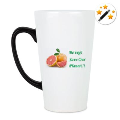 Кружка-хамелеон Грейпфрут. Be veg!