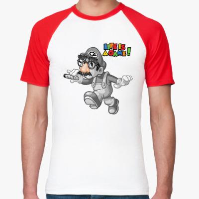 Футболка реглан Марио - жизнь игра