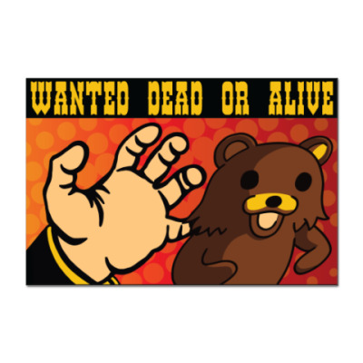 Наклейка (стикер) Pedobear: Wanted Dead or Alive