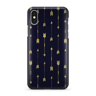 Чехол для iPhone X Золотые стрелы