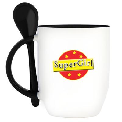 Кружка с ложкой SuperGirl