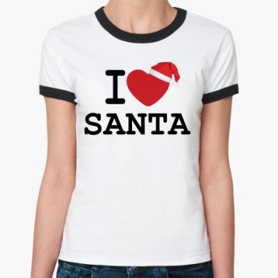 Женская футболка Ringer-T Новогодний принт I Love Santa
